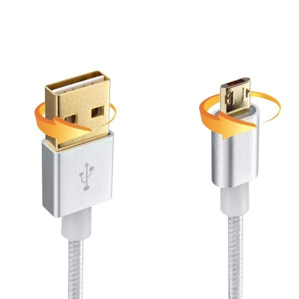 Textilný kábel Micro USB, Double Face konektor, 0,90 mr, strieborný