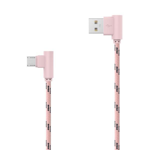 Textilný dátový kábel micro USB ružový lomený 2m 2.4A
