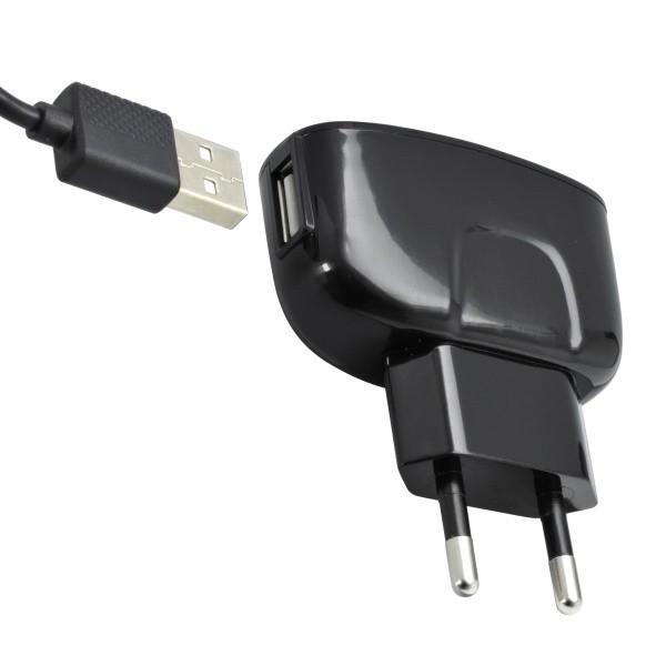 Sieťová nabíjačka 1xUSB - adaptér s konektorom Micro USB, 2A, 1m, čierna