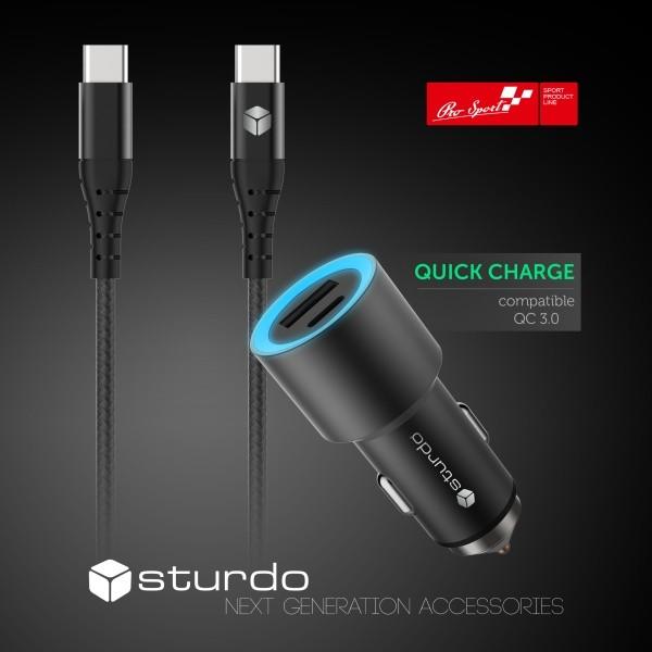 Sturdo nabíjačka do auta USB Type C 2.4A, QuickCharge s káblom Type C - Type C, čierna