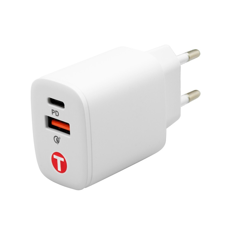 mobilNET sieťová nabíjačka 20W,  Power Delivery + Quick Charge 3.0, Eko balenie, biela