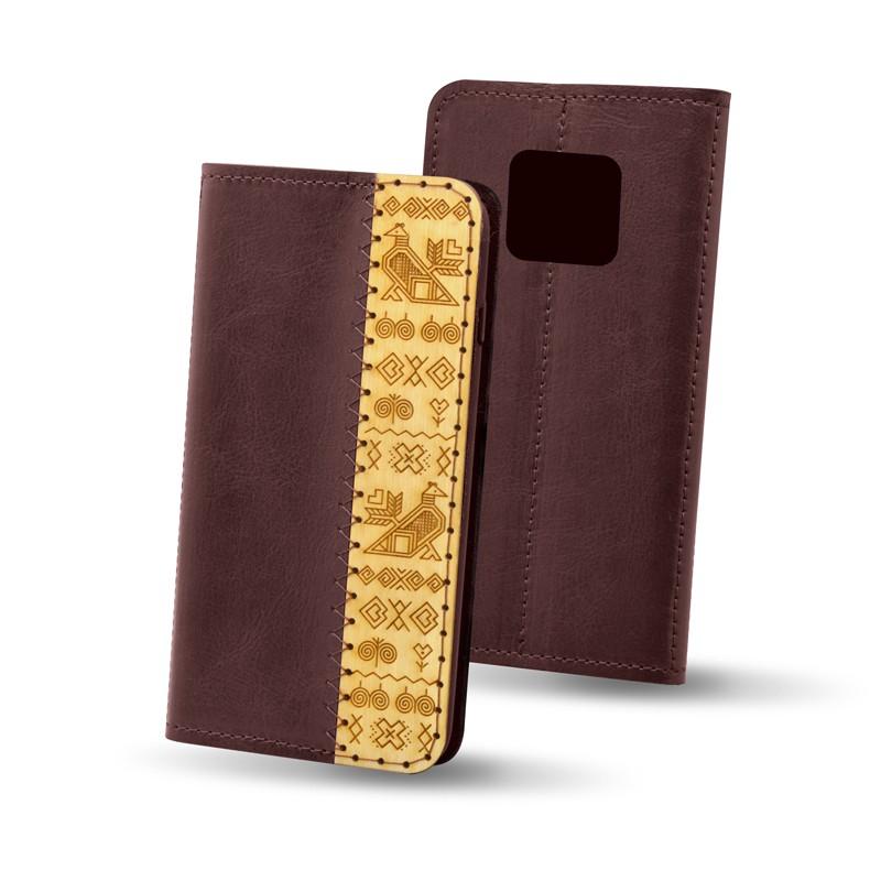 Knižkové puzdro Čičmany Huawei Mate 20 Pro, bordové