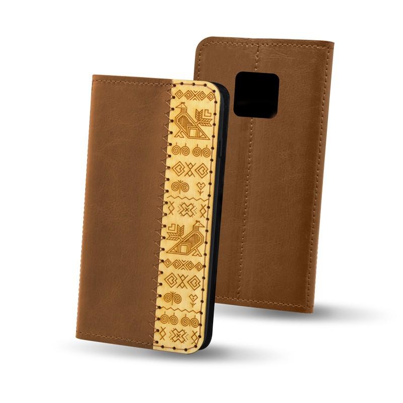 Knižkové puzdro Čičmany Huawei Mate 20 Pro, hnedé
