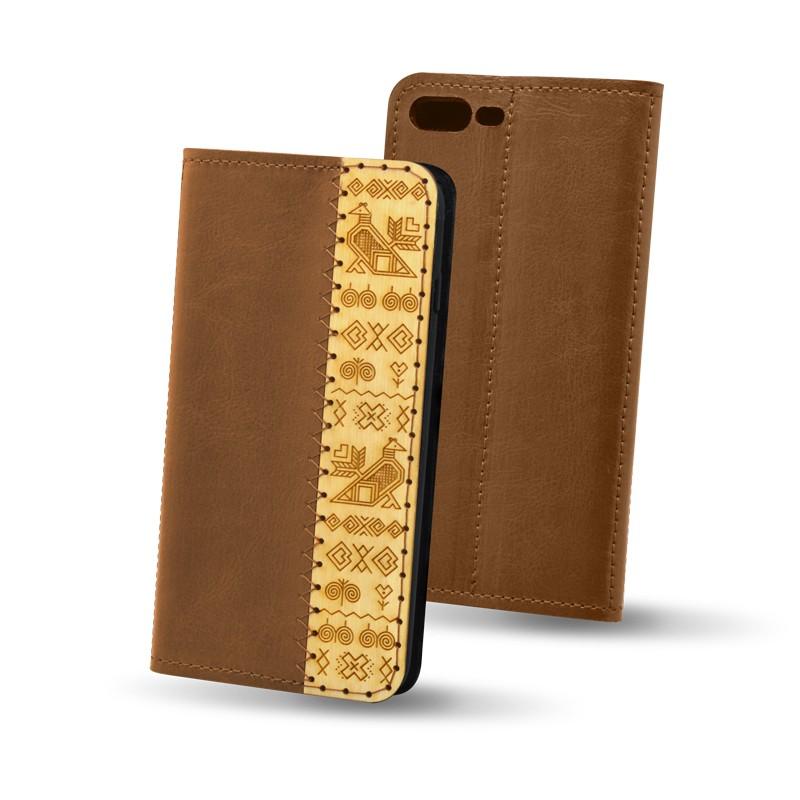 Knižkové puzdro Čičmany Huawei Mate 20 Lite, hnedé