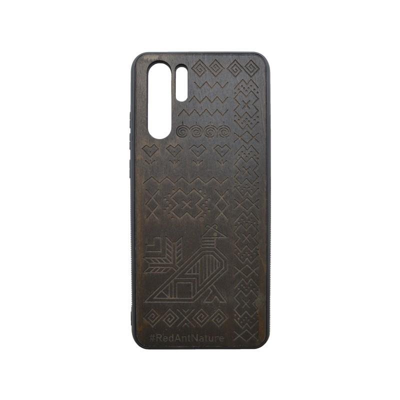 Puzdro Totem Huawei P30 Pro tmavohnedé, drevený povrch