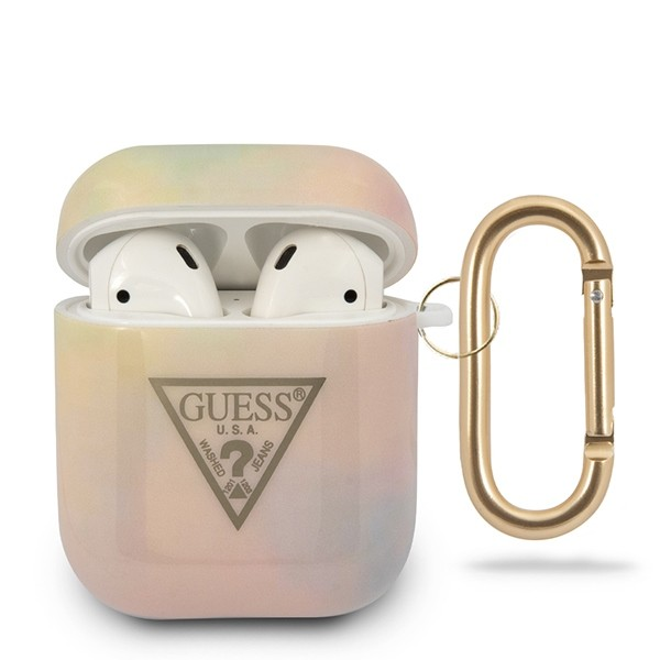 Guess puzdro na Apple AirPods,Tie a Dye Collection, ružové