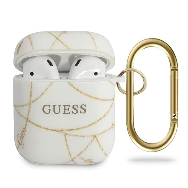Guess puzdro na Apple AirPods, Gold Chain Collection, biela