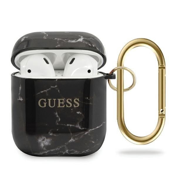 Guess puzdro na Apple AirPods, Marble Collection. čierna