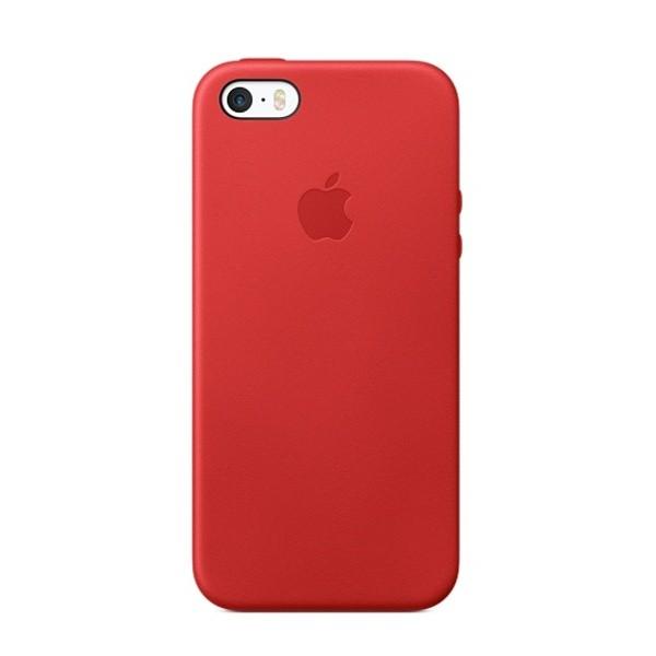 Zadné kožené puzdro Apple iPhone SE červené