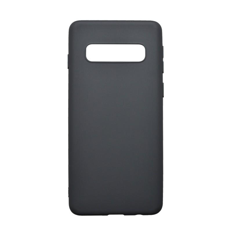 Szilikon hátlapvédő tok Samsung Galaxy S10 Plus fekete matt