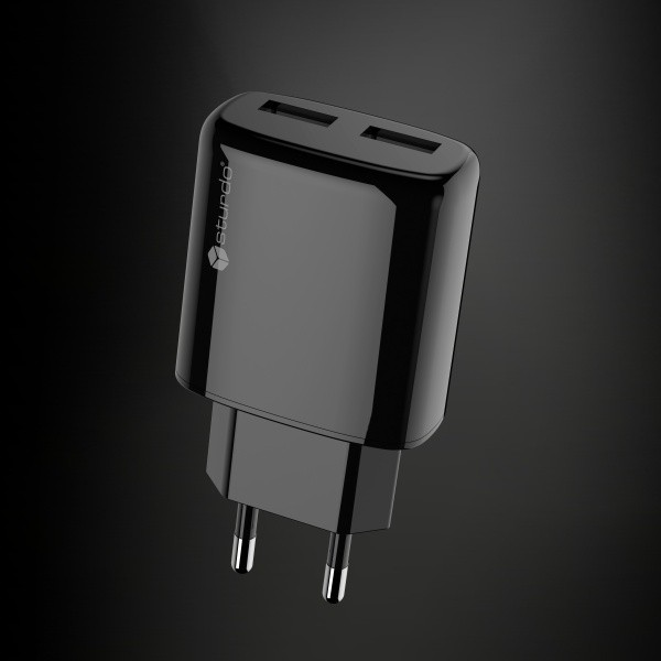 2xUSB hálózati adapter Sturdo, 2A, fekete