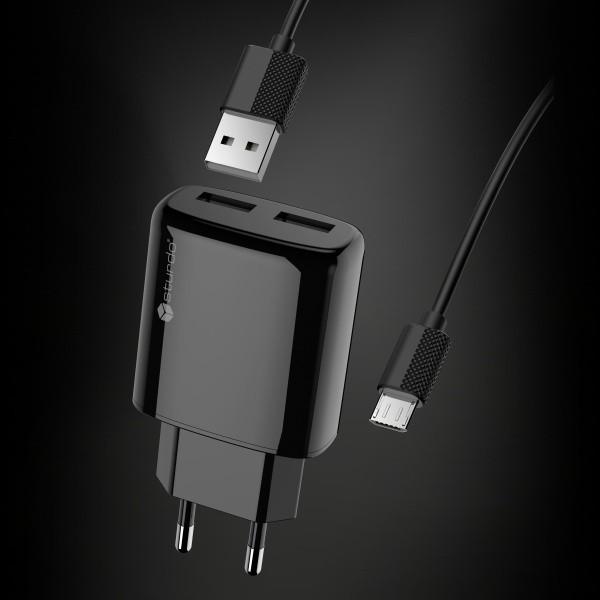 Tápegység Micro USB csatlakozóval, Sturdo 2xUSB, 2A, fekete