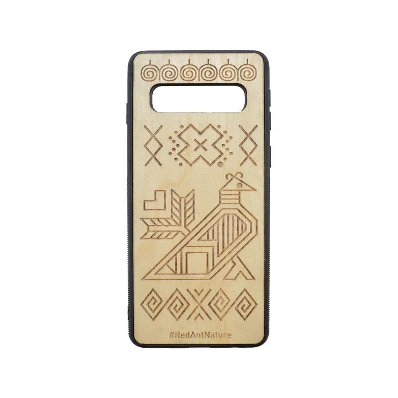 Hátlapvédő tok Čičmany Samsung Galaxy S10 barna, fa díszítés