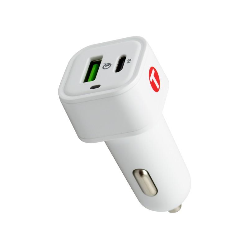 mobilNET autó töltő 38W 3A, Power Delivery + Quick Charge 3.0, Eco pack, fehér