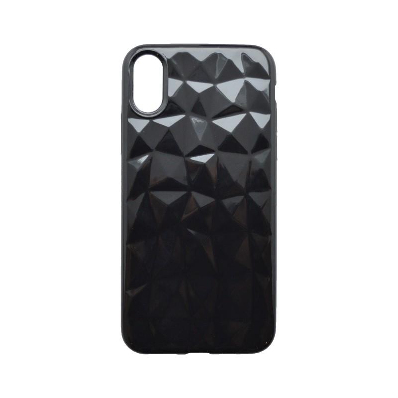 Silicone Cover Case Geometric iPhone XS Black