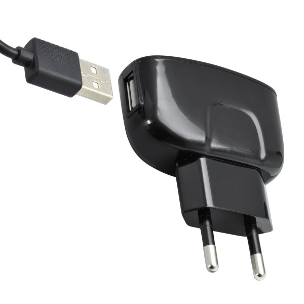 Universal Travel Charger 1xUSB - adapter with Micro USB connector, 2A, 1m, black