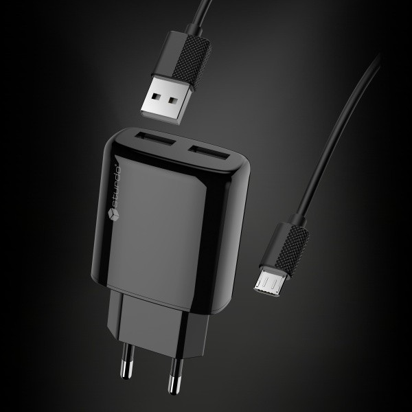 Power Adapter with Micro USB connector, Sturdo 2xUSB, 2A, black