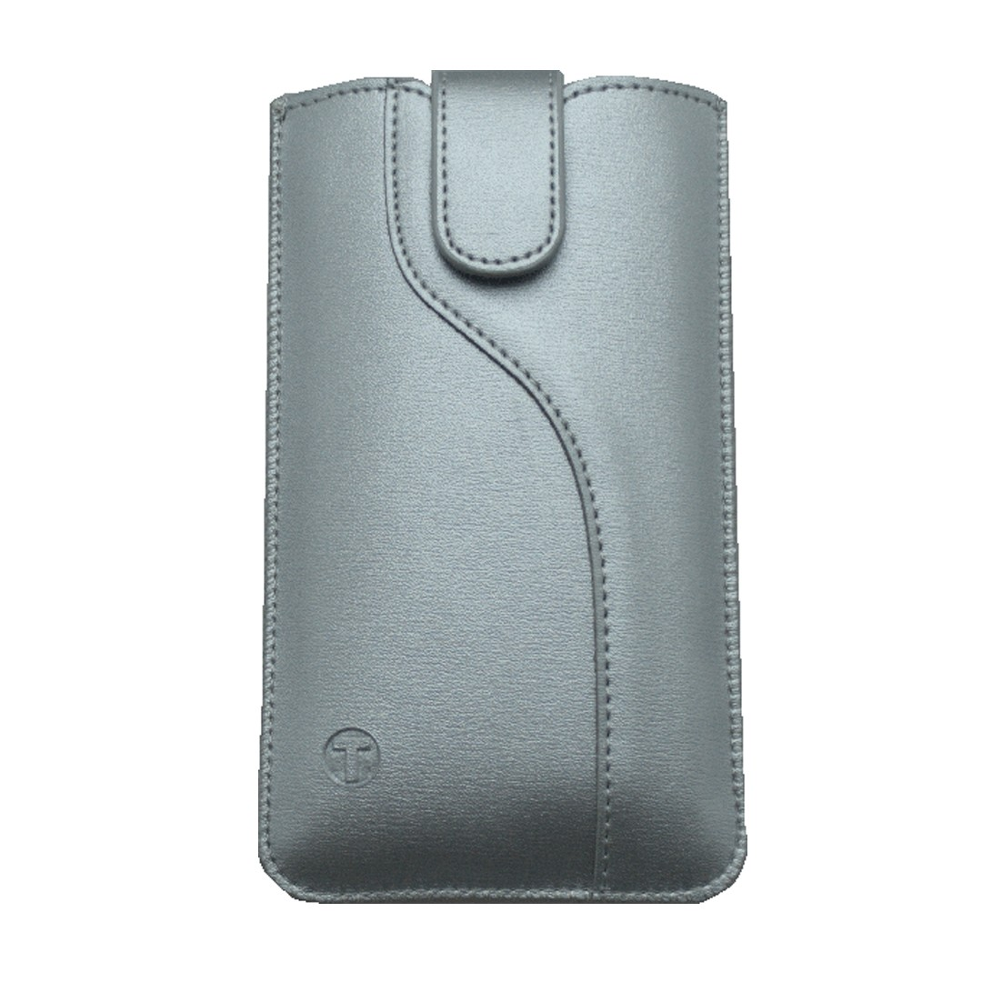 Leatherette Pouch,  5.0' size 144x74x8.5, S-line edition, silver