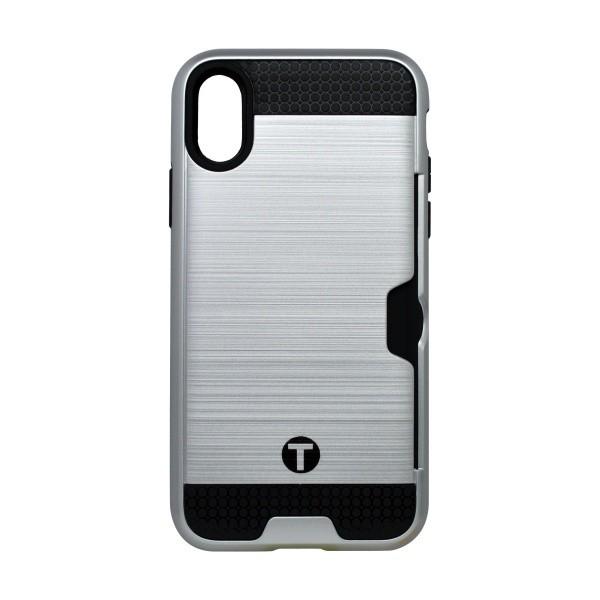 Plastic Cover Case iPhone X Silver, Silicone Core