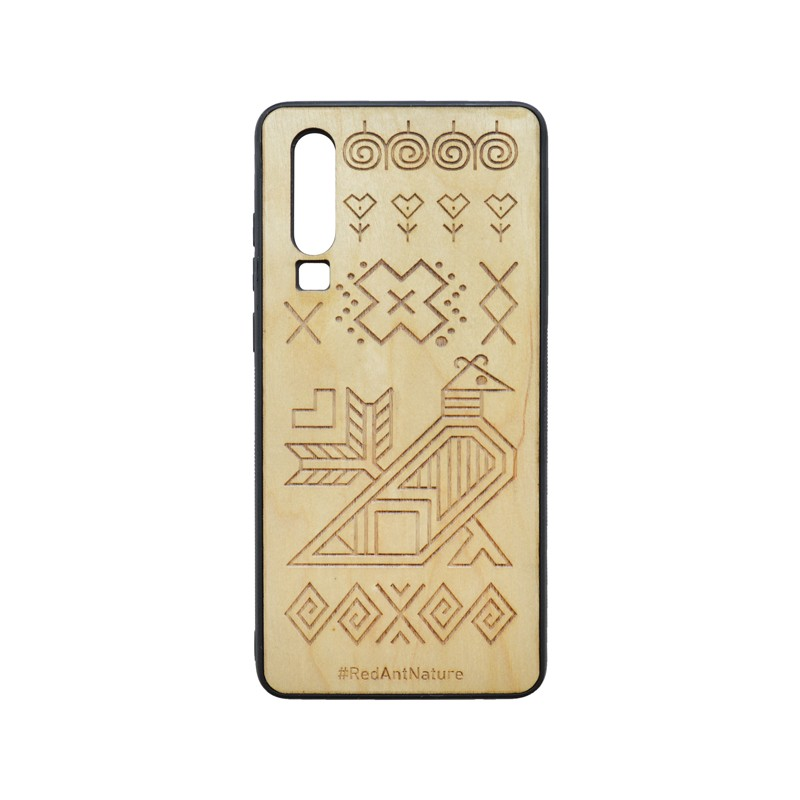 Cover Case Čičmany Huawei P30 Brown, Wooden Element