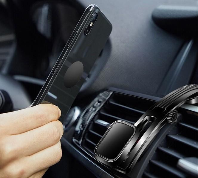 mobilNET magnetic car holder / phone stand, black