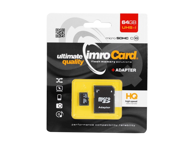Memory Card Imro 64GB with adapter HQ, class 10