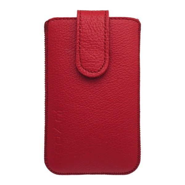 Leather Pouch Case. XL, Red